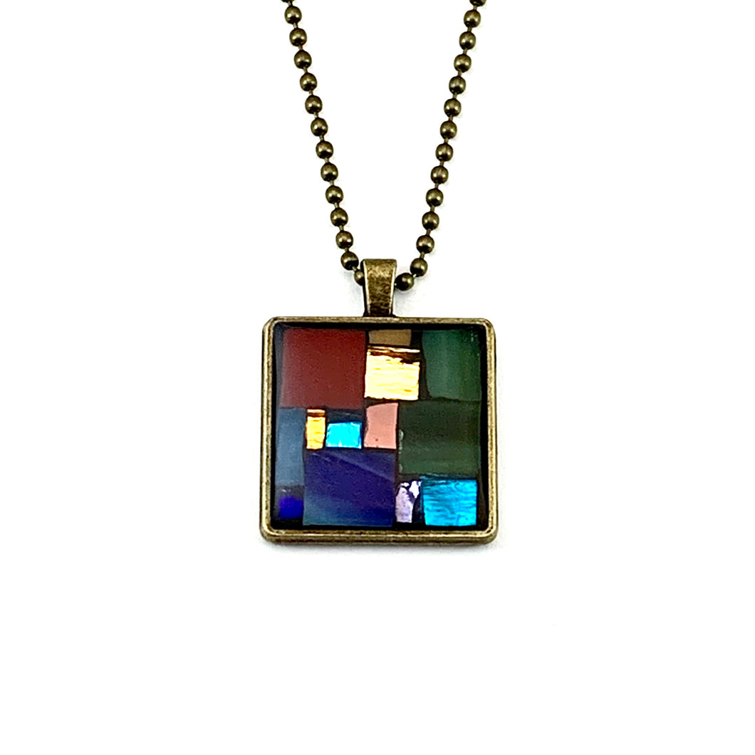 Colorful Mirror and Glass Square Pendant