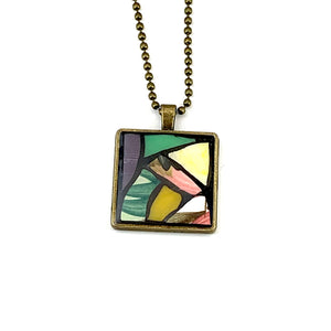 Yellow Spring Flower Stained Glass Pendant