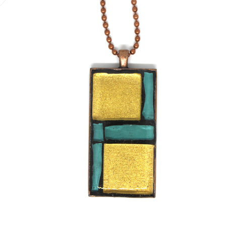 Tiffany Blue & Gold Glass Pendant