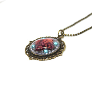 Square Rose and Blue Bead Pendant