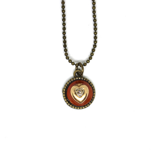 Orange and Golden Heart Pendant