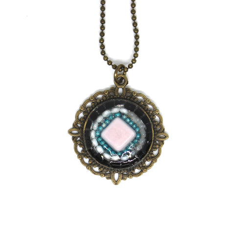 Pink Square and Turquoise Bead Pendant