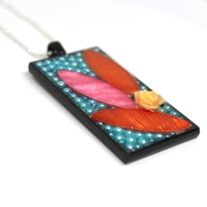 Orange and Pink Leaf Pendant