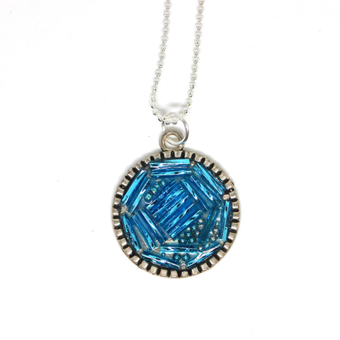 Glass Turquoise Beaded Pendant