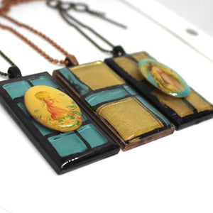 Turquoise & Gold Jesus Rectangle Pendant