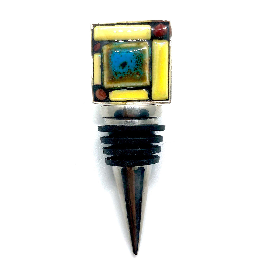 Blue and Yellow Geometric Square Bottle Stopper