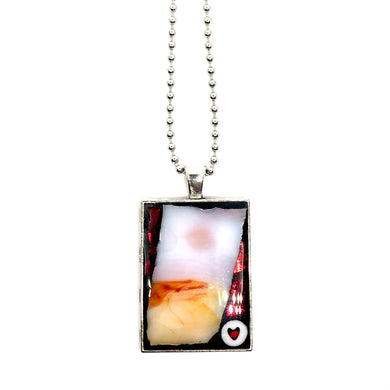 Marbled Heart Rectangle Pendant