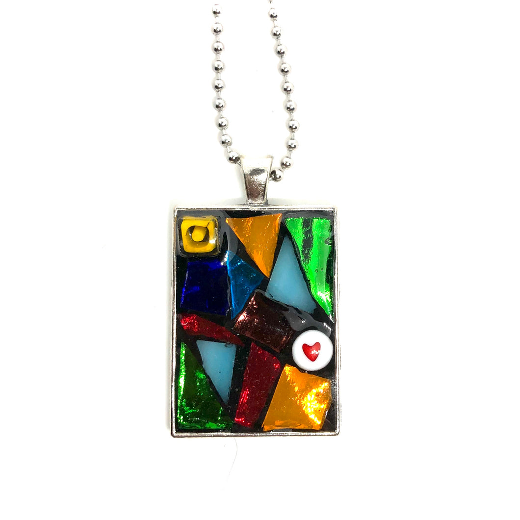 Heart and Triangles Rectangle Pendant