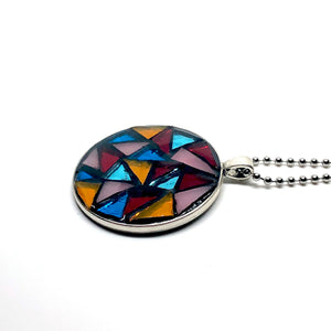 Oversized Stained Glass Triangles Round Pendant