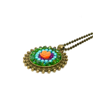 Rose Beaded Round Pendant