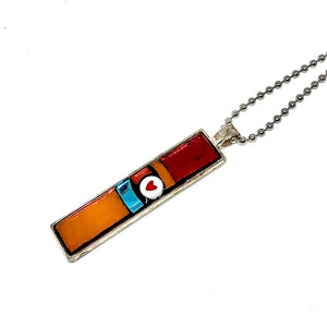 Red and Orange Heart Thin Rectangle Pendant