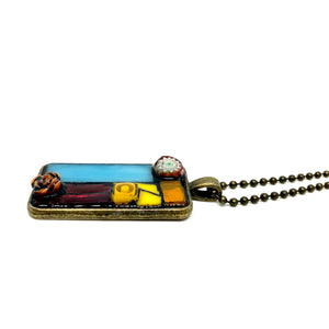 Stained Glass and Millefiori Rectangle Pendant
