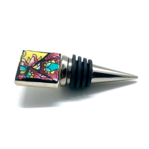 Brightly Colored Flower Square Bottle Stopper