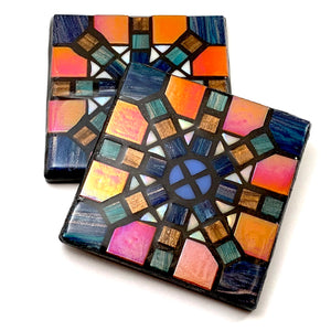 Blue/Orange Geometric Starburst Coaster - Set of 2