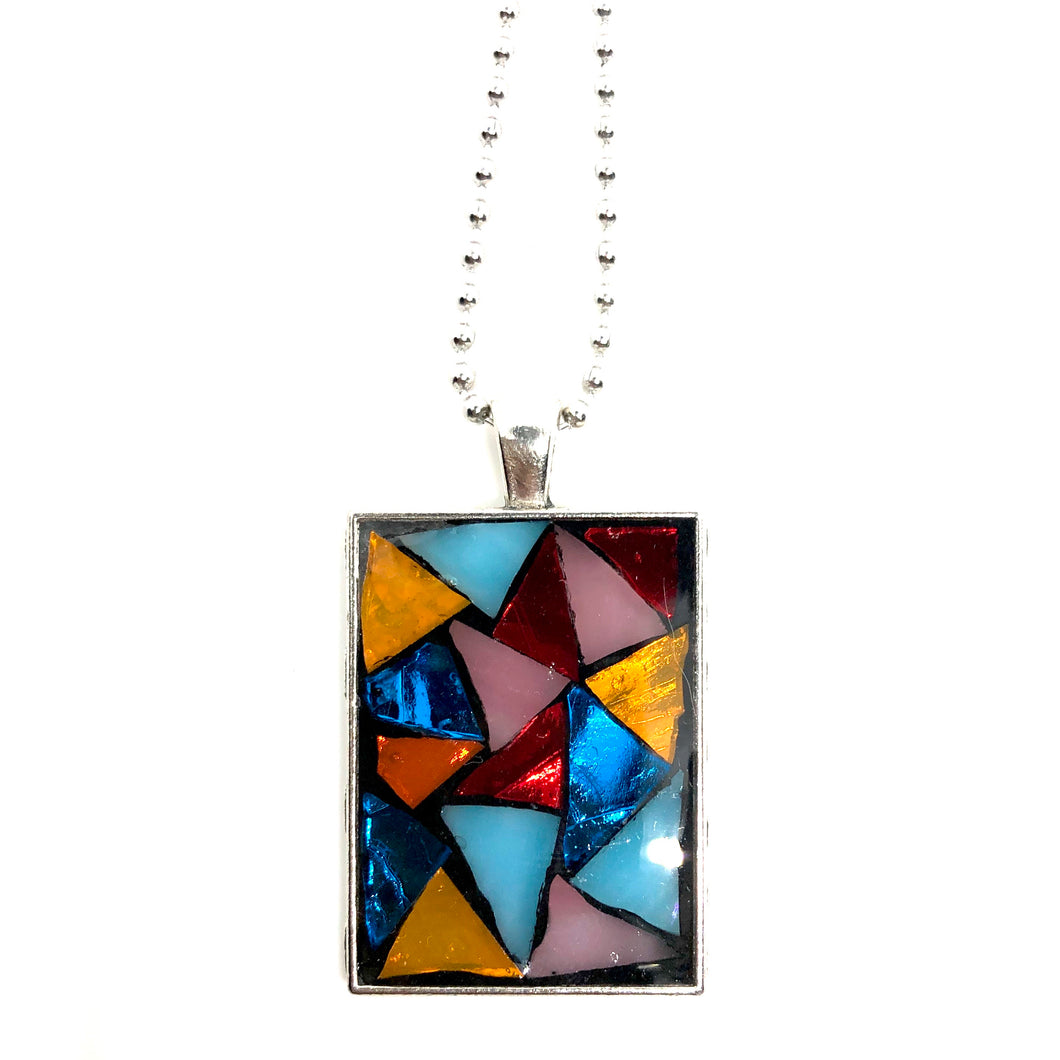 Colorful Stained Glass Rectangle Pendant