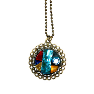 Stained Glass Ornate Round Pendant