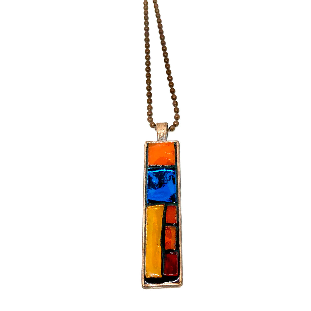 Multi-Color Checkered Thin Rectangle Pendant