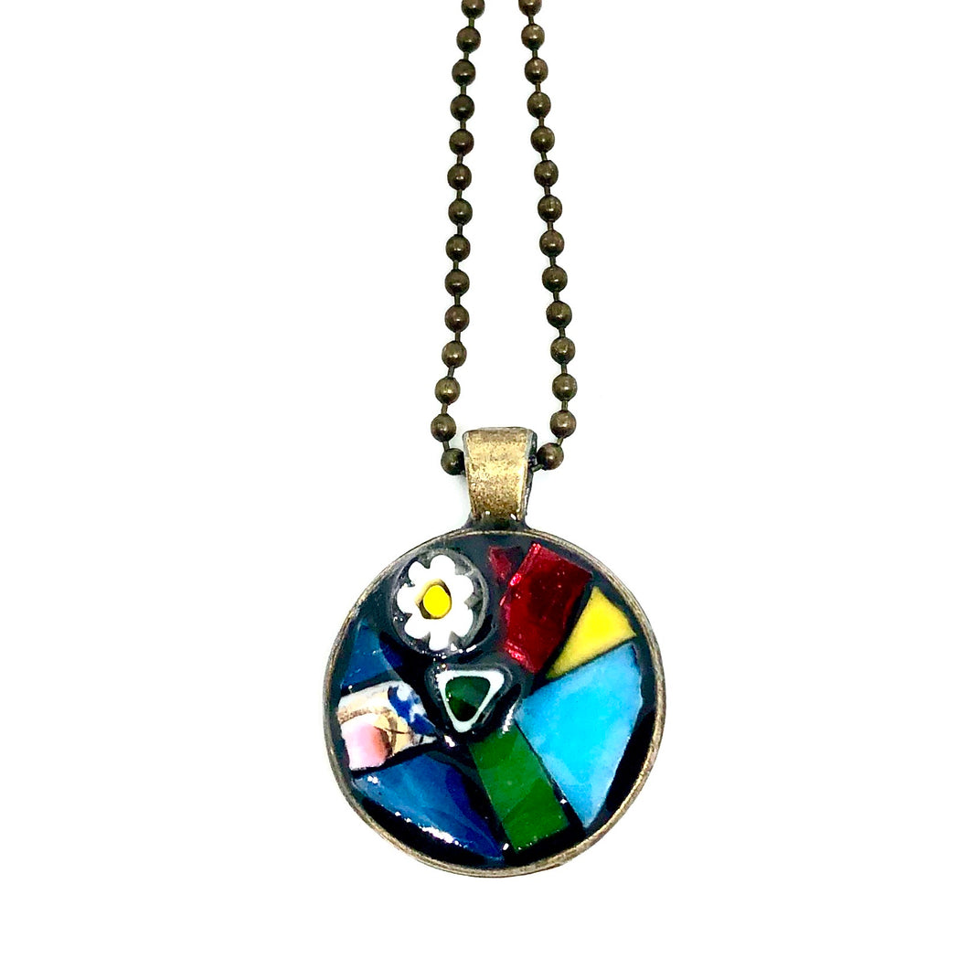 Stained Glass & Millefiori Round Pendant
