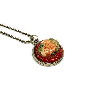Japanese Flower Beaded Pendant