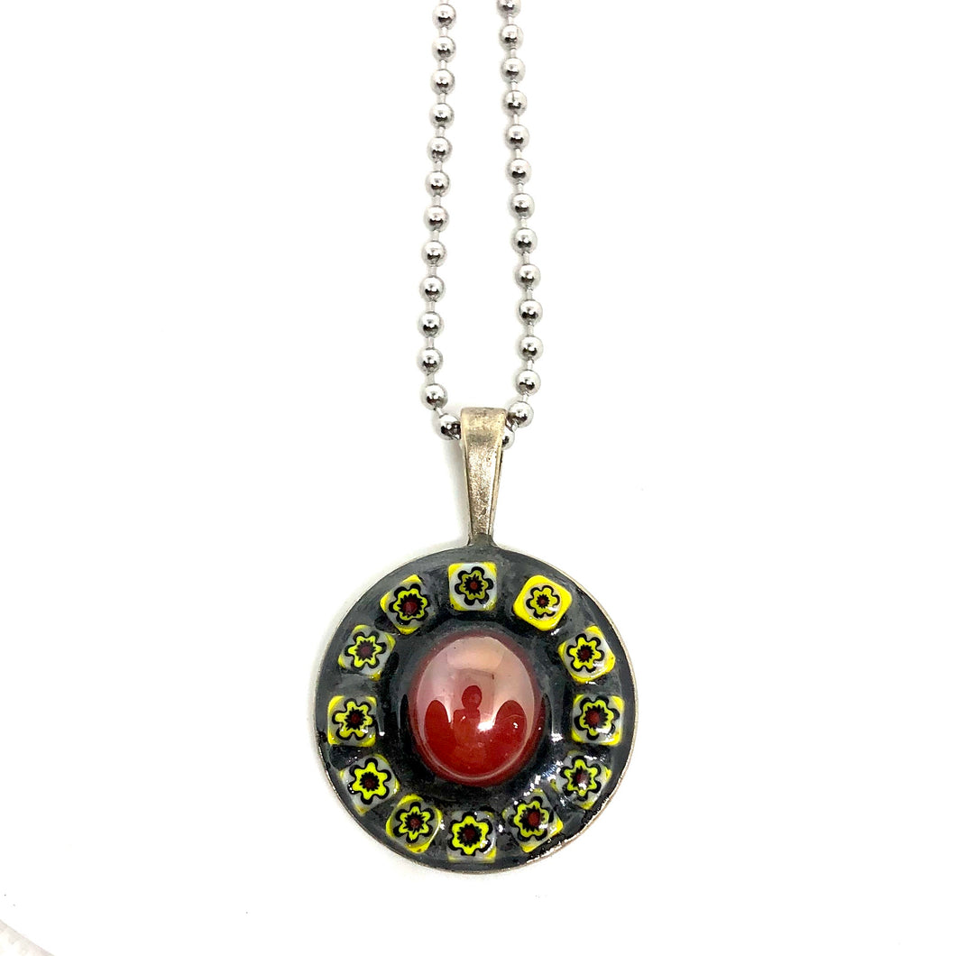 Bead and Yellow Millefiori Round Pendant