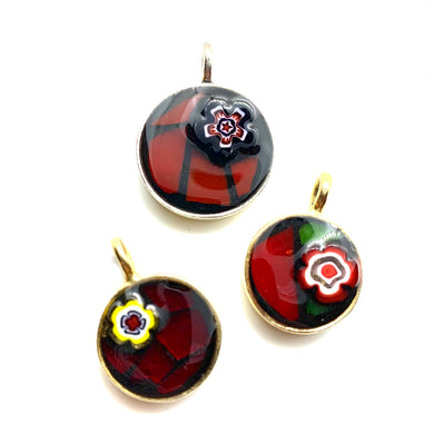 Raspberry Millefiori Flower Pendant Collection