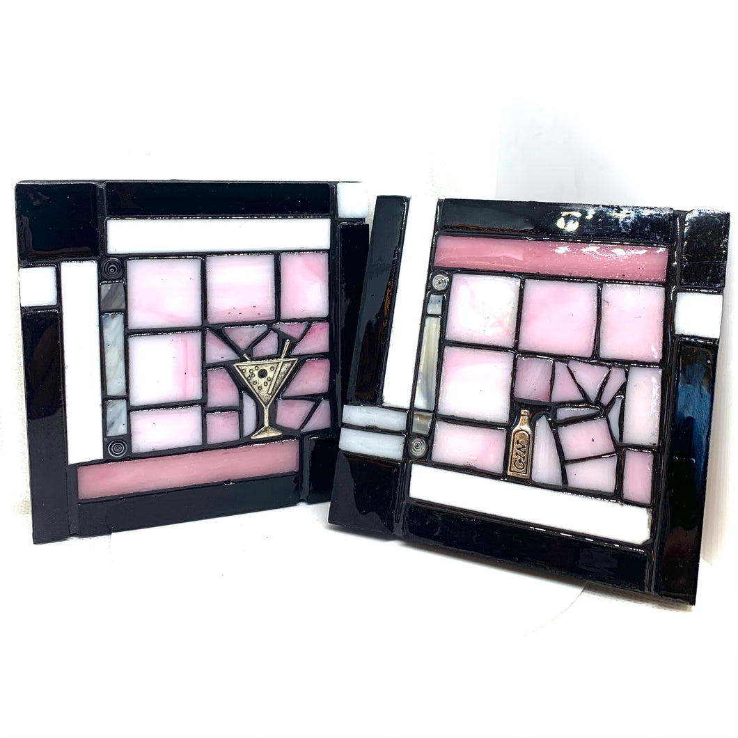 Pink and Black Martini Coasters - Set of 2