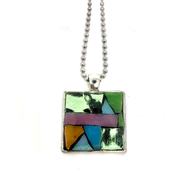 Pink & Green Stained Glass Square Pendant