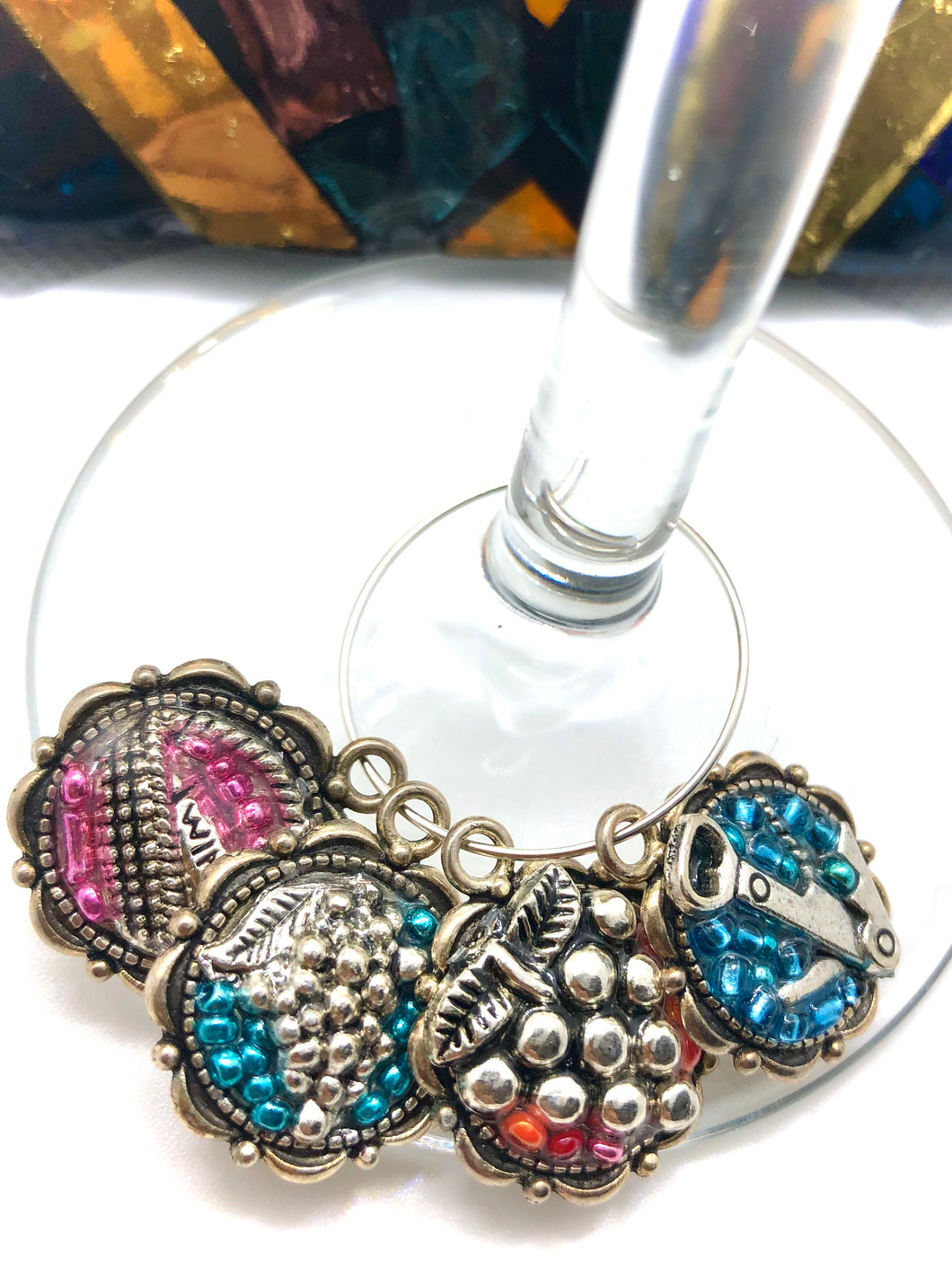 'Grapes' Wine Charms - Set of 4