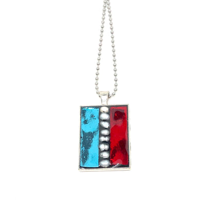 Red and Blue Glass with Pearls Rectangle Pendant