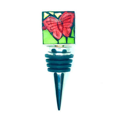 Red and Yellow Butterfly Square Bottle Stopper