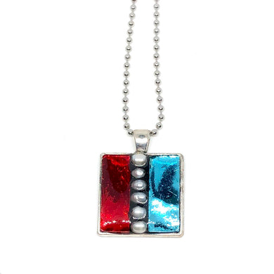 Red and Blue Glass with Pearls Square Pendant