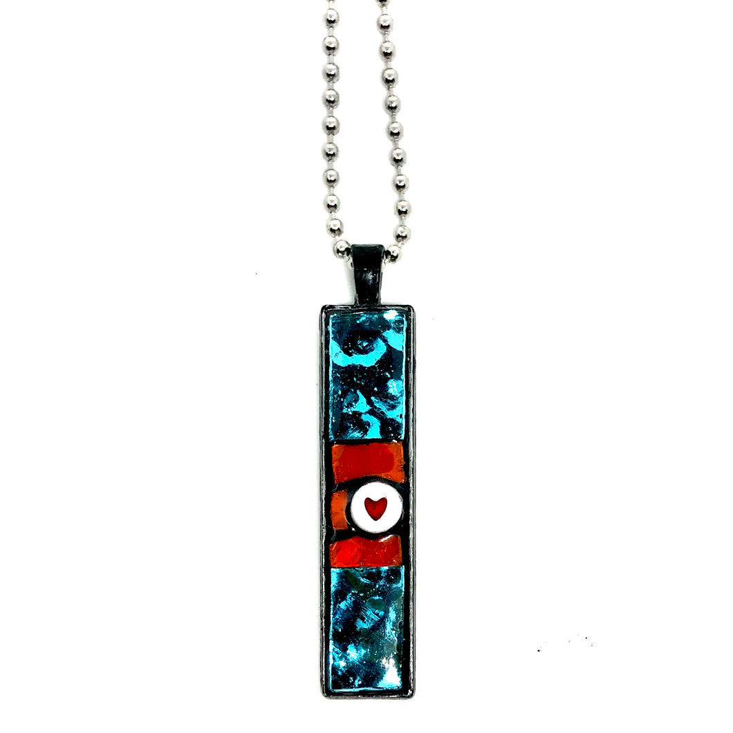 Turquoise and Heart Thin Rectangle Pendent