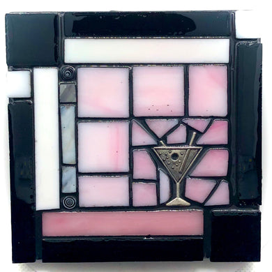Pink and Black Martini Coaster