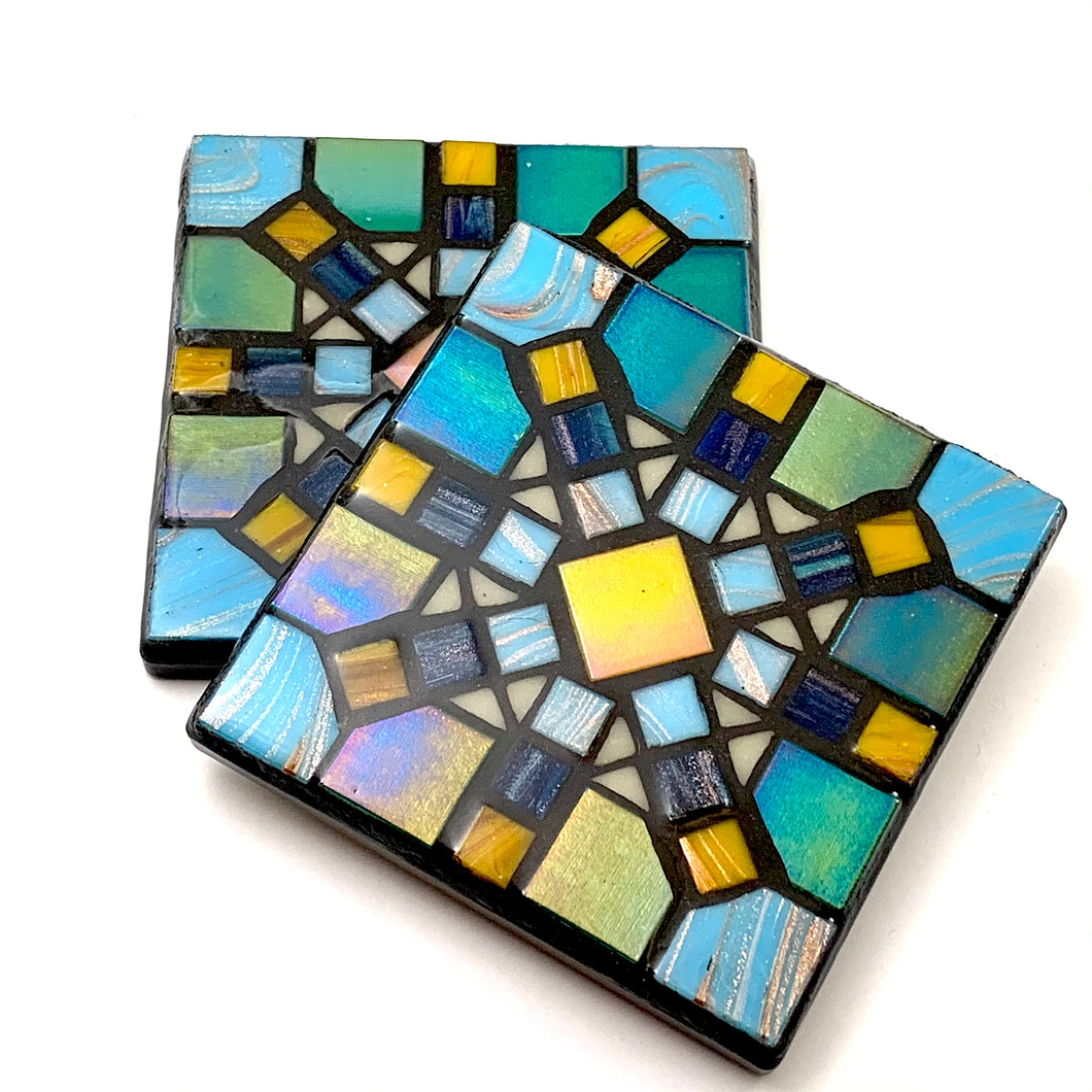 Blue/Yellow Geometric Starburst Coaster - Set of 2