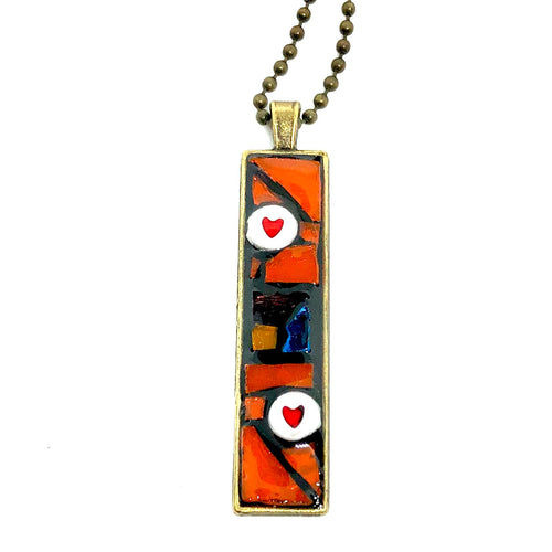 Orange Chunks with Hearts Thin Rectangle Pendant