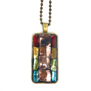 Stained Glass Geometric Rectangle Pendant