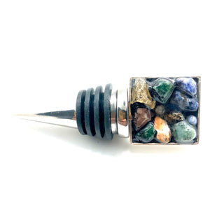Mixed Multi-color Rock Square Bottle Stopper