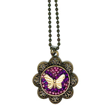 Beaded Butterfly Round Pendant