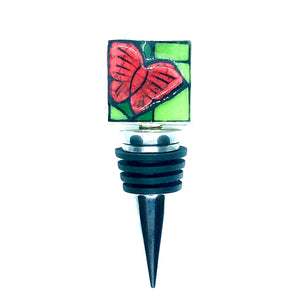 Red Butterfly Square Bottle Stopper