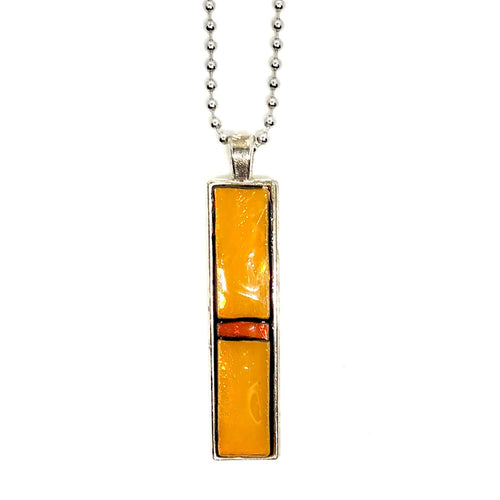 Red and Orange Geometric Thin Rectangle Pendant
