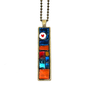 Mosaic Squares Thin Rectangle Pendant