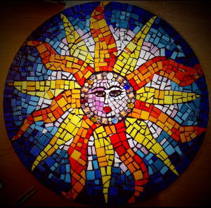patio garden sun mosaic outdoor art