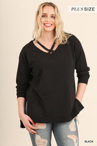 Plus Size - Hi Low Crossed V-Neck Sweater