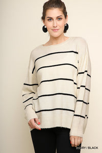 Oversized Striped Knit Sweater
