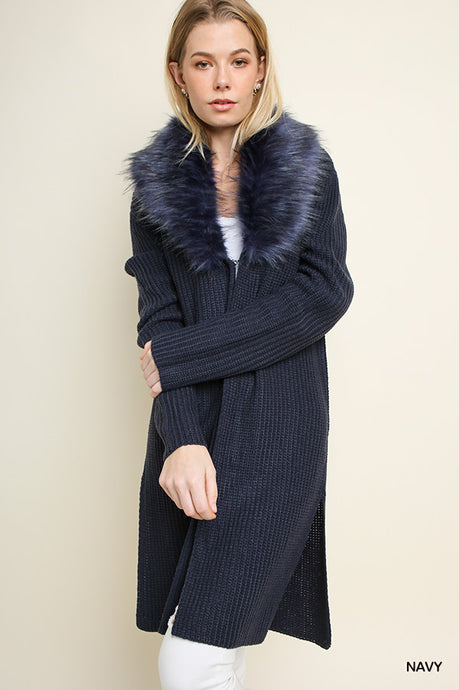 Faux Fur Collar Sweater