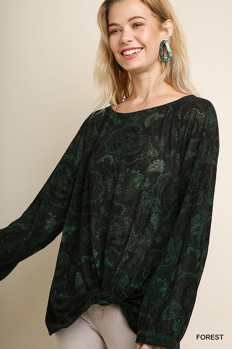 Paisley Velvet Burnout Top