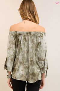 Acid Washed Off Shoulder Top
