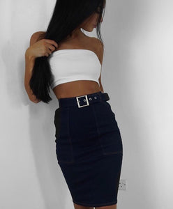 Denim Buckle Belt Midi Skirt Sale