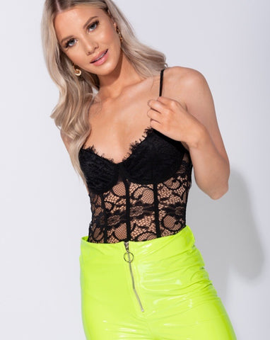 Eyelash Lace Panel Bodysuit
