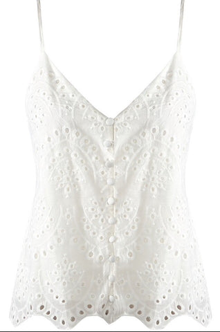 White Broderie Anglaise Embroidered Cami Top Sale